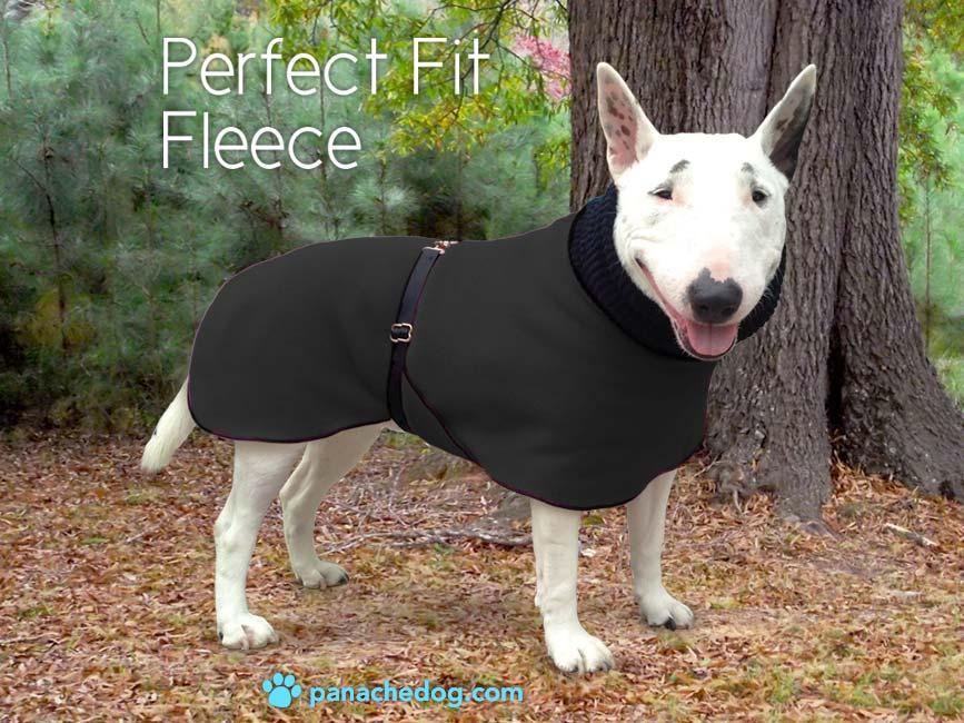black fleece dog coat