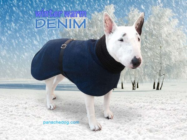 PanacheDog warm winter denim dog coat