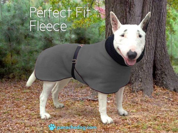 gray fleece dog coat