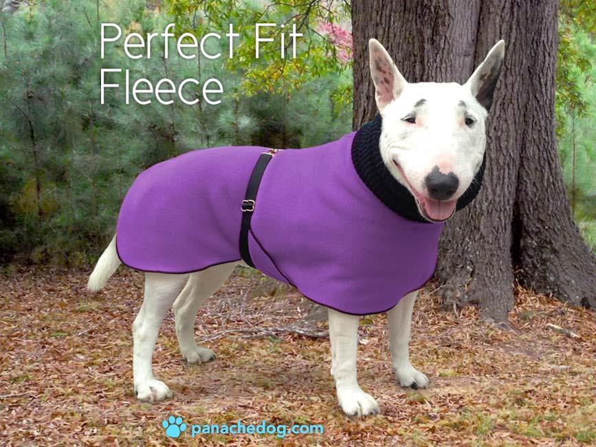 purple fleece dog coat