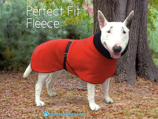 red fleece dog coat