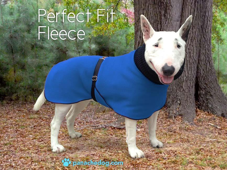 blue fleece dog coat