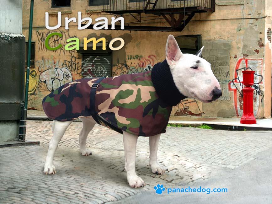 green camo dog coat