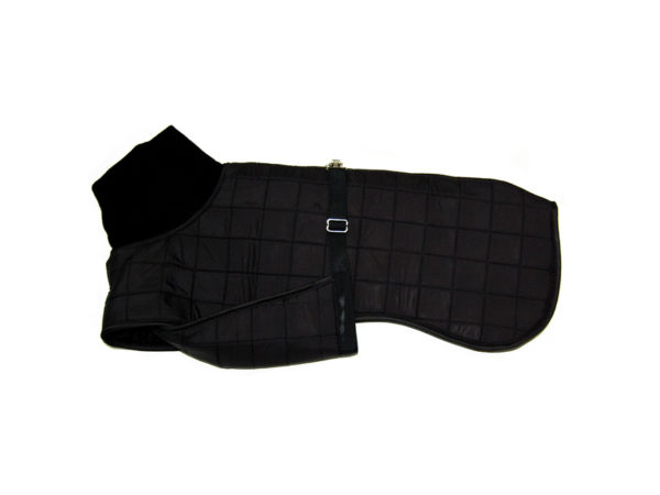 panache black quilted dog coat